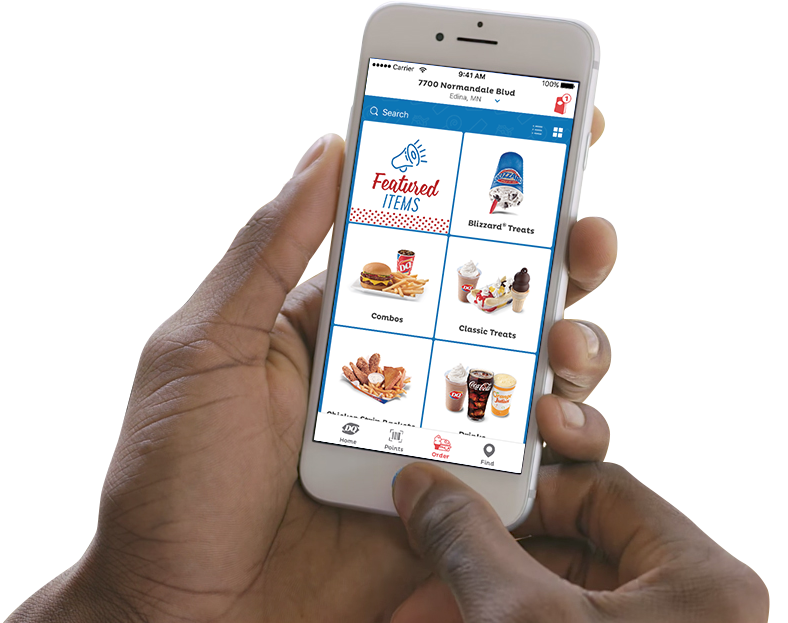 Phone with the DQ app open displayed the user's accumulated points